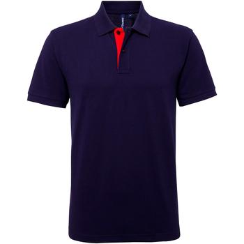 textil Herre Polo-t-shirts m. korte ærmer Asquith & Fox AQ012 Navy/ Red