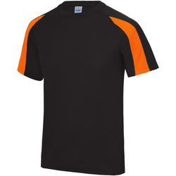 textil Herre T-shirts m. korte ærmer Just Cool JC003 Jet Black/Electric Orange