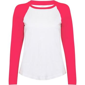 textil Dame Langærmede T-shirts Skinni Fit SK271 White / Hot Pink