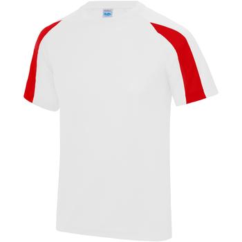 textil Herre T-shirts m. korte ærmer Just Cool JC003 Arctic White/Fire Red