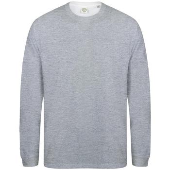 textil Herre Langærmede T-shirts Skinni Fit Slogan Heather Grey