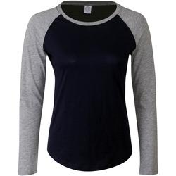textil Dame Langærmede T-shirts Skinni Fit SK271 Oxford Navy/Heather Grey