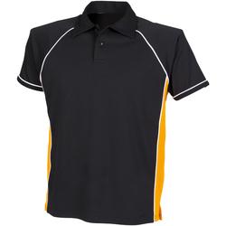 textil Børn Polo-t-shirts m. korte ærmer Finden & Hales LV372 Black/ Amber/ White