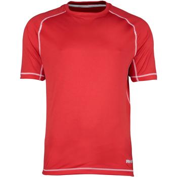 textil Herre T-shirts m. korte ærmer Rhino RH041 Red/White Stitching