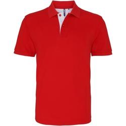 textil Herre Polo-t-shirts m. korte ærmer Asquith & Fox AQ012 Red/ White