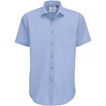 textil Herre Skjorter m. korte ærmer B And C SMP62 Business Blue