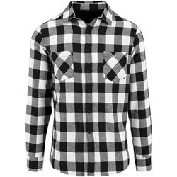textil Herre Skjorter m. lange ærmer Build Your Brand BY031 Black/White