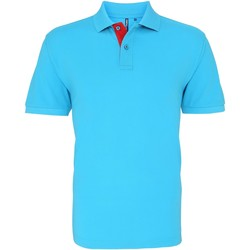 textil Herre Polo-t-shirts m. korte ærmer Asquith & Fox AQ012 Turquoise/ Red