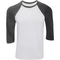 textil Herre Langærmede T-shirts Bella + Canvas CA3200 White/Dark Grey