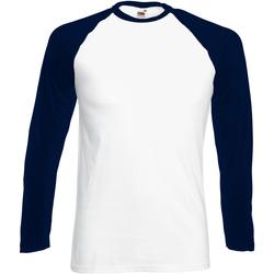 textil Herre Langærmede T-shirts Fruit Of The Loom 61028 White/Deep Navy