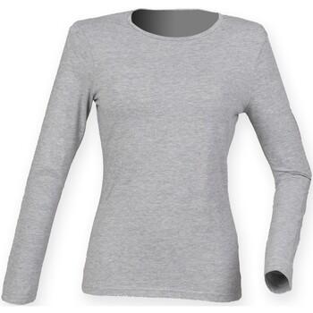 textil Dame Langærmede T-shirts Skinni Fit SK124 Heather Grey