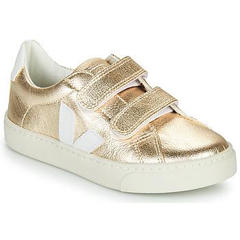 Sko Pige Lave sneakers Veja SMALL-ESPLAR-VELCRO Guld / Hvid