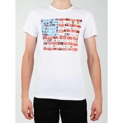 textil Herre T-shirts m. korte ærmer Wrangler S/S Modern Flag Tee W7A45FK12 white