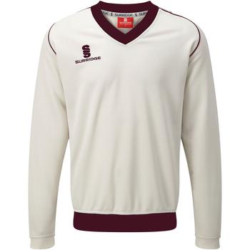 textil Herre Sweatshirts Surridge SU008 White/ Maroon trim