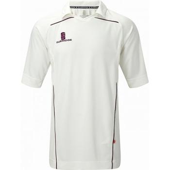 textil Herre T-shirts m. korte ærmer Surridge SU009 White/ Maroon trim
