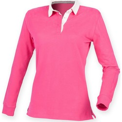 textil Dame Polo-t-shirts m. lange ærmer Front Row FR105 Bright Pink