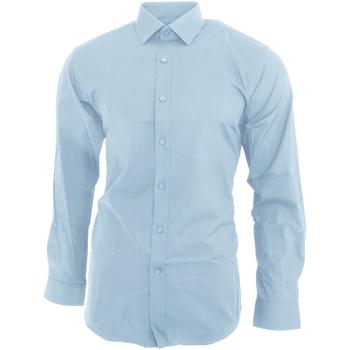 textil Herre Skjorter m. lange ærmer Brook Taverner BK130 Sky Blue