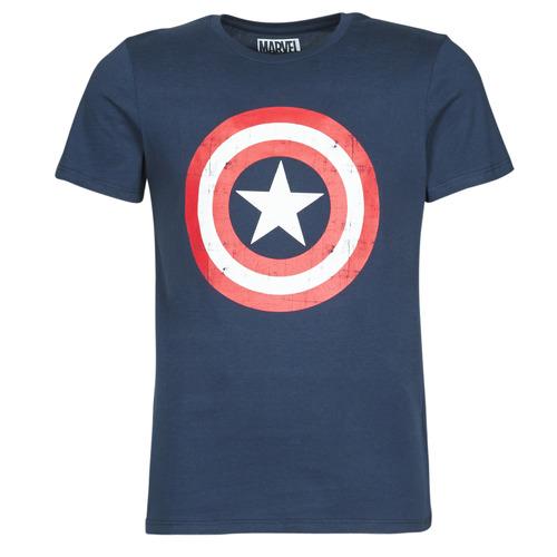 textil Herre T-shirts m. korte ærmer Yurban CAPTAIN AMERICA LOGO Marineblå