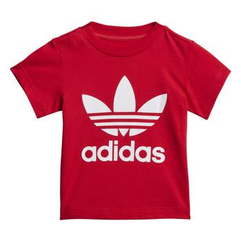 textil Børn T-shirts m. korte ærmer adidas Originals TREFOIL TEE Rød