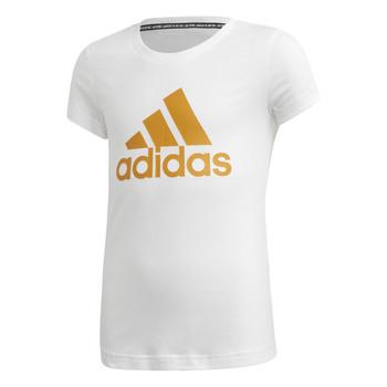 textil Pige T-shirts m. korte ærmer adidas Performance YG MH BOS TEE Hvid