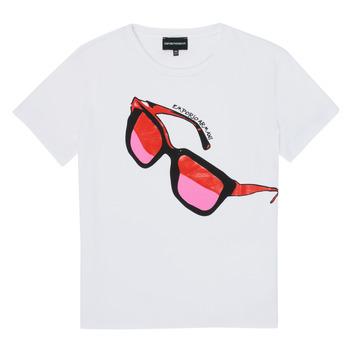 textil Pige T-shirts m. korte ærmer Emporio Armani 6H3T7T-3J2IZ-0100 Hvid