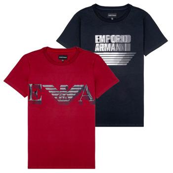 textil Dreng T-shirts m. korte ærmer Emporio Armani 6H4D22-4J09Z-0353 Sort / Rød