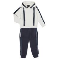 textil Dreng Træningsdragter Emporio Armani 6H4V02-1JDSZ-0101 Marineblå / Hvid