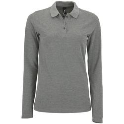 textil Dame Polo-t-shirts m. lange ærmer Sols PERFECT LSL COLORS WOMEN Gris
