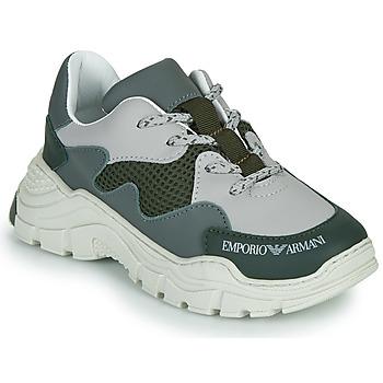 Sko Børn Lave sneakers Emporio Armani XYX008-XOI34 Grøn / Grå