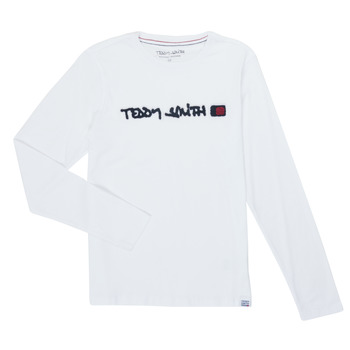 textil Dreng Langærmede T-shirts Teddy Smith CLAP Hvid