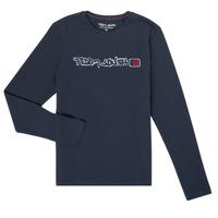 textil Dreng Langærmede T-shirts Teddy Smith CLAP Marineblå