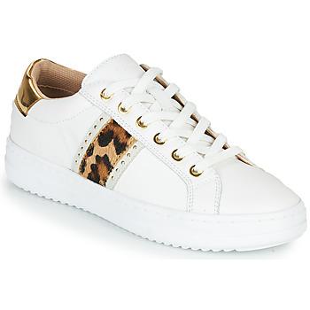 Sko Dame Lave sneakers Geox PONTOISE Hvid / Leopard