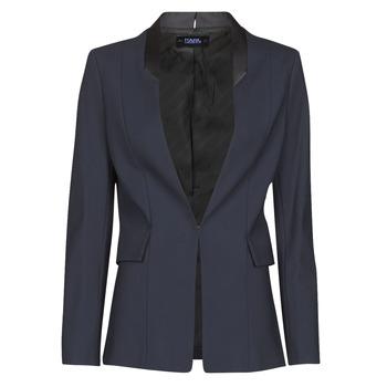 textil Dame Jakker / Blazere Karl Lagerfeld PUNTO JACKET W/ SATIN LAPEL Marineblå / Sort