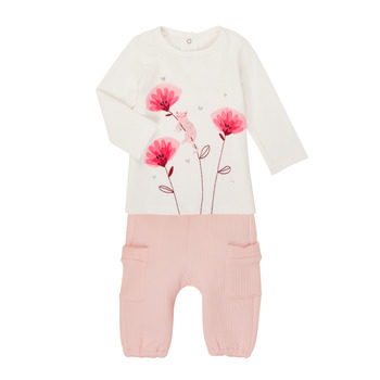 textil Pige Sæt Catimini CR36001-11 Hvid / Pink
