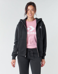 textil Dame Sweatshirts Converse CONVERSE WOMENS FOUNDATION FULL ZIP HOODIE Sort