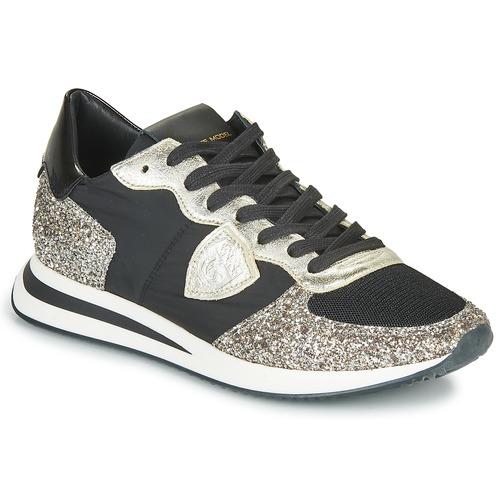 Sko Dame Lave sneakers Philippe Model TROPEZ X BASIC Sort / Sølv