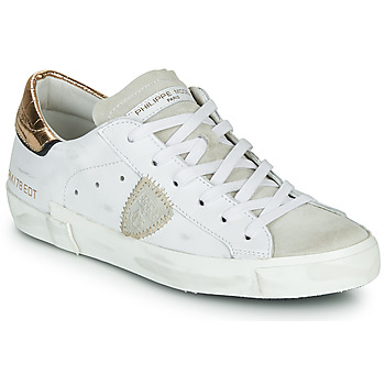 Sko Dame Lave sneakers Philippe Model PARIS X VEAU CROCO Hvid / Guld