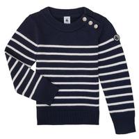 textil Børn Pullovere Petit Bateau LOX Marineblå / Hvid