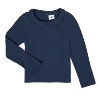 textil Pige Langærmede T-shirts Petit Bateau LOVING Marineblå