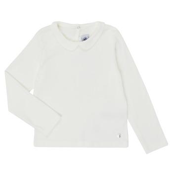 textil Pige Langærmede T-shirts Petit Bateau LOVING Hvid