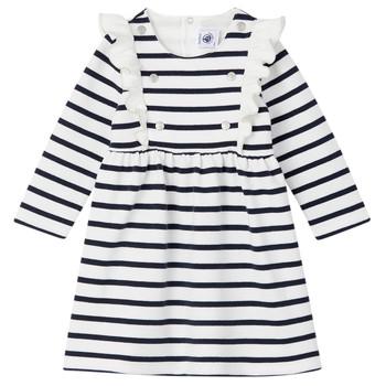textil Pige Korte kjoler Petit Bateau LEVRIER Hvid / Marineblå