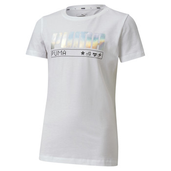 textil Pige T-shirts m. korte ærmer Puma ALPHA TEE Hvid