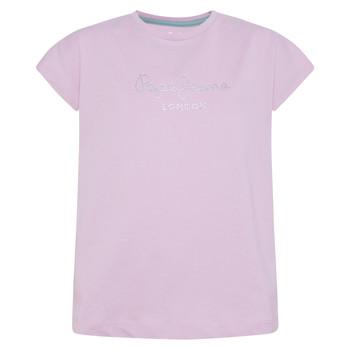 textil Pige T-shirts m. korte ærmer Pepe jeans NURIA Blå