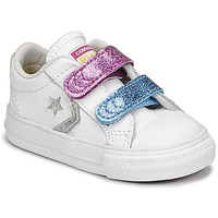 Sko Pige Lave sneakers Converse STAR PLAYER 2V GLITTER TEXTILE OX Hvid / Blå / Pink