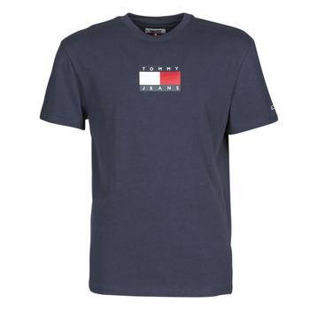 textil Herre T-shirts m. korte ærmer Tommy Jeans TJM SMALL FLAG TEE Marineblå