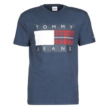 textil Herre T-shirts m. korte ærmer Tommy Jeans TJM PLAID CENTRE FLAG TEE Marineblå