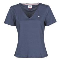 textil Dame T-shirts m. korte ærmer Tommy Jeans TJW SLIM JERSEY V NECK Marineblå