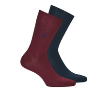 Accessories Herre Strømper Polo Ralph Lauren ASX70 2 PACK MERCERIZED COTTON Marineblå / Bordeaux