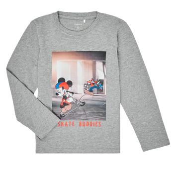 textil Dreng Langærmede T-shirts Name it NMMMICKEY EMIL Grå