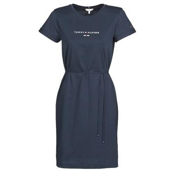 textil Dame Korte kjoler Tommy Hilfiger TH ESS HILFIGER REG C-NK DRS SS Marineblå